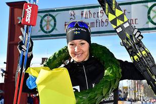 Satte rekord: Britta Johansson Norgren gikk på 1.16.44 og satte løyperekord med ett minutt og 46 sekunder. (Foto: arrangøren/Nisse Smidt)