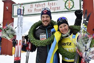 170305 Sälen-Mora  Vasaloppet Segrara John Kristian Dahl och Britta Johansson Norgren Foto Nisse Schmidt