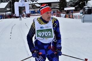 Hans Espenes knep seieren også på 5 km klassisk for klassse 86-90 år og tok samtidig sitt andre gull av to mulige i Sveits. (Arrangørfoto)