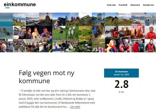 Den nye heimesida finn du på www.einkommune.no.
