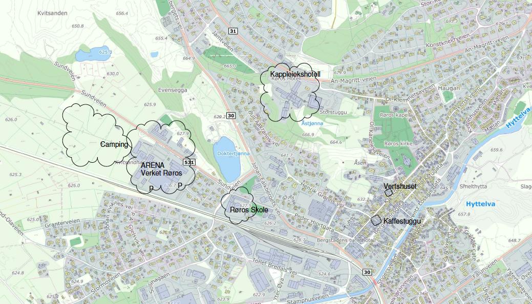Oversiktskart over Røros