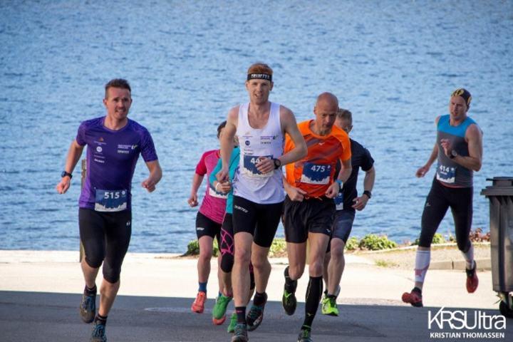 Fra 21 kilometeren med Christian Bøen, Ståle Gjelsten og Erik Bergersen i tet. (Foto: Kristian Thomassen)