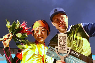 Yuri Yoshizumi og Stian Angermund Vik kunne juble for hver sin klare seier i motbakkeløpet på La Palma. (Foto: Vertical Kilometer World Circuit)