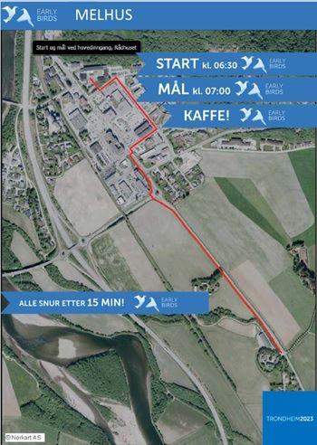 Kartet viser retning vi skal gå/løpe. Foto: Early Birds