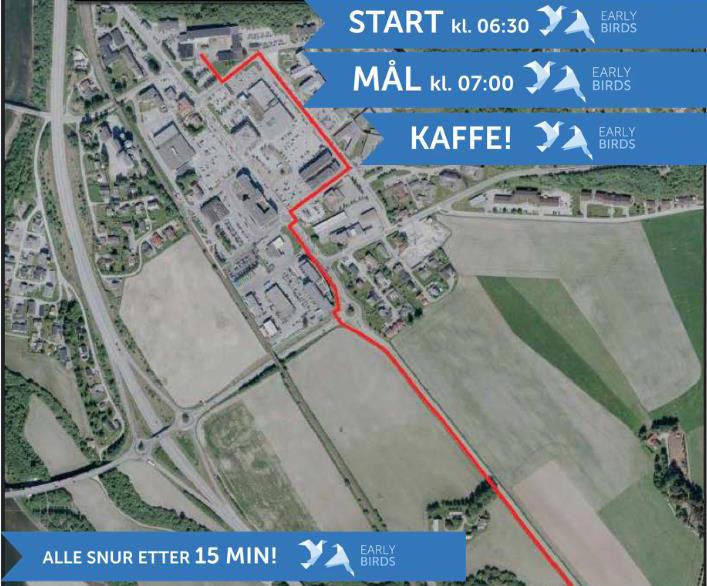 Kart over løypa for Early Birds i Melhus.