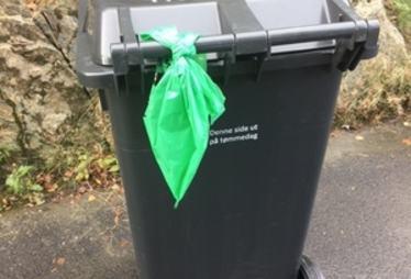 grønn pose på beholder