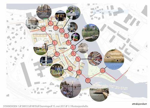 Attraksjonskart - Strandveien - illustrasjon