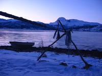 Lavangen fra Lia og innover fjorden med Spanstind i bakgrunnen