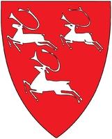 Porsanger kommunes logo, våpenskjold med tre hvite reinsdyr på rød bunn
