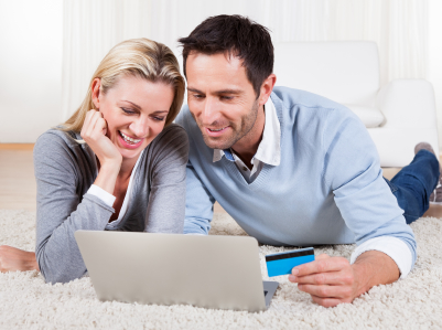 Young couple shopping online