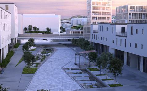 Slik kan nye Knarvik sentrum sjå ut.