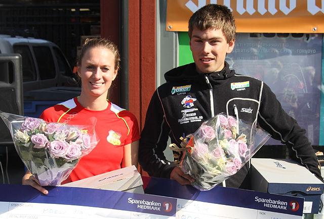 Geir Steig, Luster IL og Merete Weng, IL etter triumfene i Lundehøgda Opp i 2014.