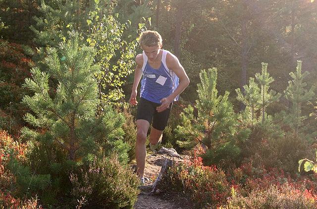 Petter Myhr på toppen ved Jordbærkirka i fjorårets gå-jogg i i Vallset. (Foto: Willy Pedersen)