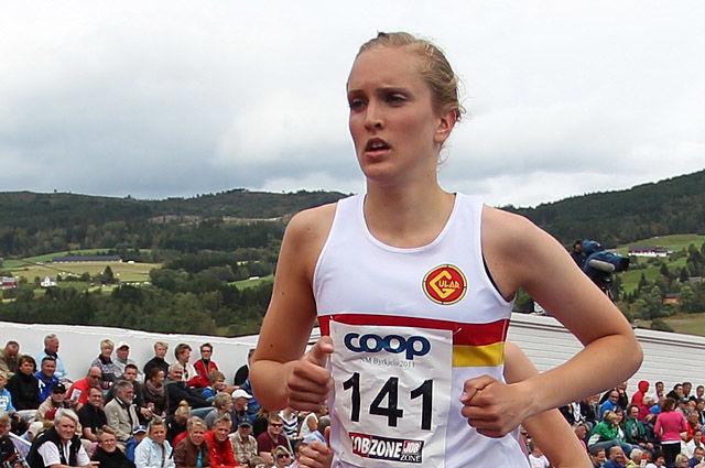 Frida Berge satte ny pers da hun løp 3000 m hinder på 10.04,00. (Arkivfoto: Bjørn Johannessen)