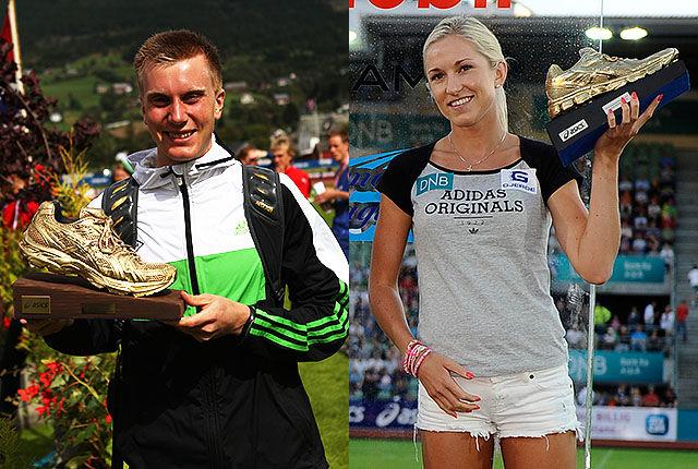 Sondre Nordstad Moen og Karoline Bjerkeli Grøvdal begynner å bli vant med å vinne Kondis' gullsko. (Foto: Kjell Vigestad / Bjørn Johannessen)