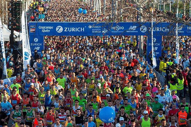 Med 10805 fullførende ble det deltagerrekord i årets Sevilla Marathon. ((Foto: Arrangøren/Juan Jose Ubeda)