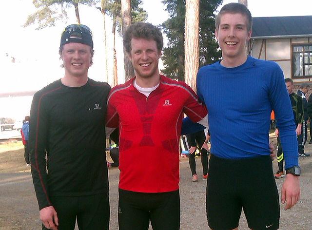 De tre beste i årets første Gå-jogg (fr v.): Mårten Soleng Skinstad, Petter Soleng Skinstad og Sindre Joahnsen.
