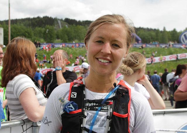 Marte Pedersen i mål til seier og løyperekord (foto: Finn Olsen).