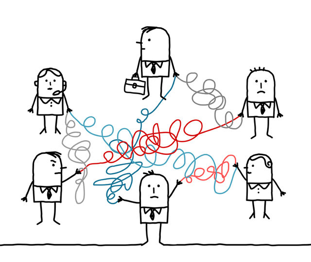 business people connected by tangled strings