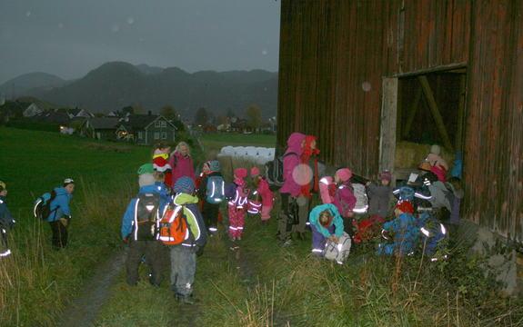 Elever fra Flå skoles 1. og 2. trinn på vei til Bortnabekken 23.10.14