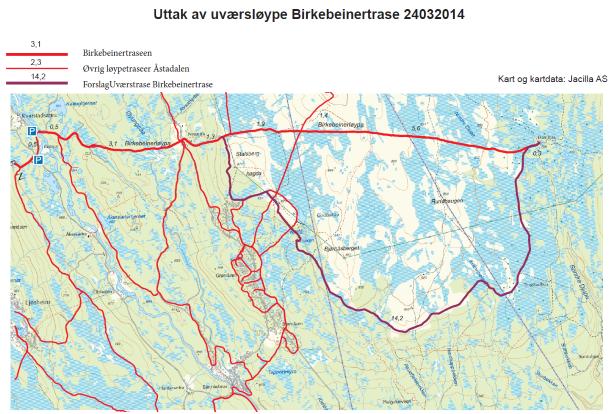 kart over birkebeinerrittet Birken og grunneierne har kommet til enighet om uværstrasèen  kart over birkebeinerrittet