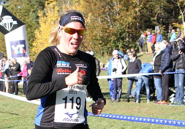 Maria Wågan, som sist helg vant NM terrengløp, løp nå en kontrollmålt 5 km på 17.04. (Arkivfoto: Runar Gilberg)
