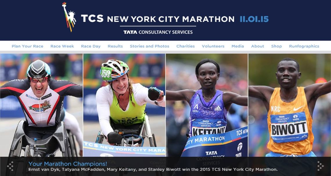 Ernst van Dyk, Tatyana McFadden, Mary Keitany, and Stanley Biwott win the 2015 TCS New York City Marathon (foto: NYRR)