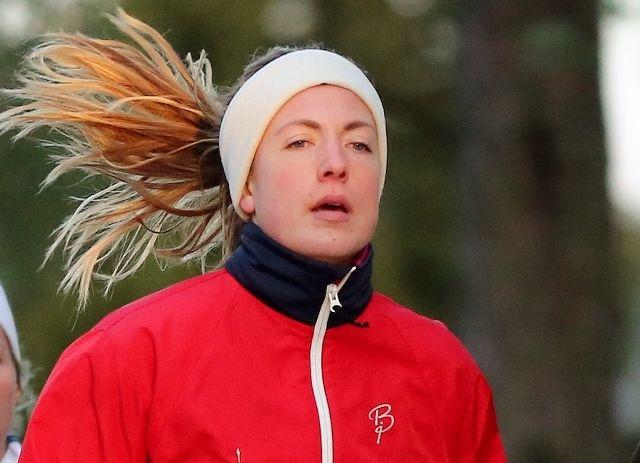 Line Haug Pedersen var klart raskeste kvinne. Bildet er fra et karuselløp på Bjørkelangen januar 2015 (foto: Bjørn Hytjanstorp).