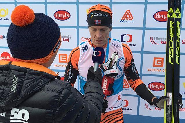 Petter Eliassen intervjues etter seieren. Foto:  Thomas Alsgaard