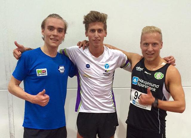 Kristian Tjørnhom (midten) vant foran Jens Larsen Åstveit (til venstre) mens Ole Mikal Tørsdal ble nummer sju. (Foto: Morten Velde)