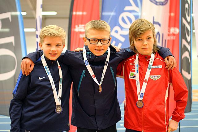 Premiepallen i G12: fra venstre: Eivind Hosøy Nordås, Jonas Snemyr Langesæter og Brage Bell Lysaker