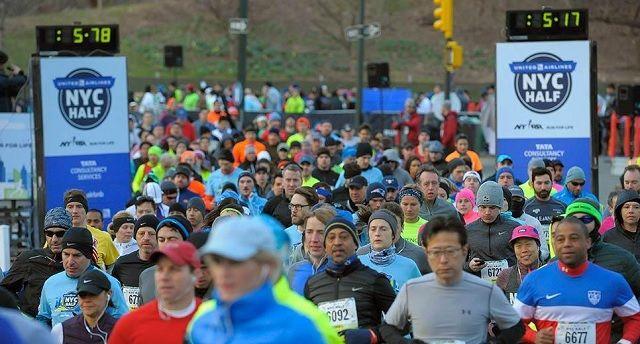 Fra årets New York City halvmaraton som gikk i kjølig vårvær (Arrangørfoto).