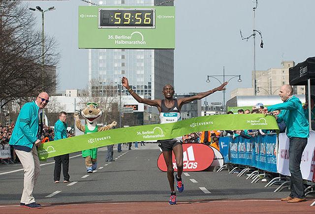 Richard Mengich fra Kenya snek seg både under timen og under sin egen pers da han vant på 59.58. (Foto: SCC-Events/camera4)