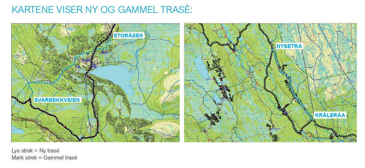 kart over birkebeinerrittet Birken gjør endringer i traseen til Birkebeinerrittet   KONDIS  kart over birkebeinerrittet