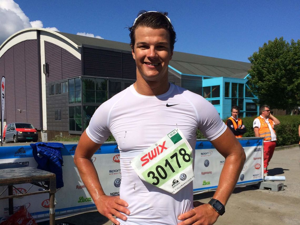 En fornøyd Rune Malo Ødegård etter å ha kommet først i mål på det første Birken fjellmaraton (foto: Elise Hole)