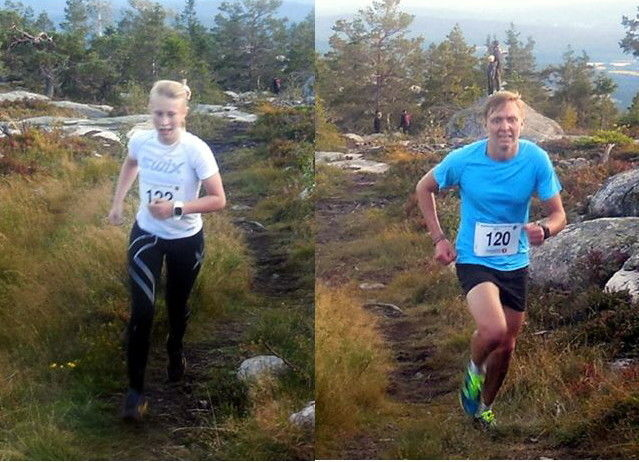 Espen Honganvik Holen og Christine Dalsjø Fredriksen, begge fra Magnor UL, var raskeste mann og dame til toppen av Rafjellet. (Foto: Fred Nordal)