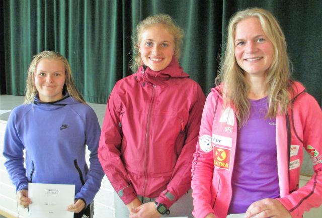 Damene som sprang Kleiva opp: frå venstre Ingrid Gausemel, Anne Marie Roset og Merete Helgheim