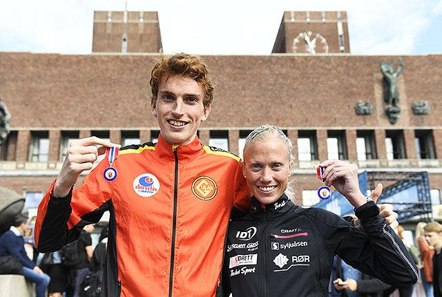 NM-vinnerne Marte Katrine Myhre og Marius Vedvik (foto: Bjørn Johannessen).