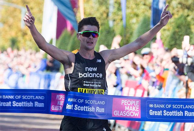 Callum Hawkins satte både skotsk rekord og løyperekord da han vant halvmaratonløpet Great Scottish Run på 1.00.24. (Foto: arrangøren)