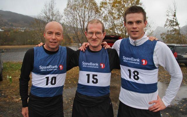Tre første. Fra venstre Bjørn Ole Vassbotn, Are Uran og Anders Heggen. Foto Martin Hauge-Nilsen