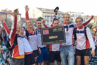 Det norske VM-laget i terrengultra 2016 i Portugal. Da kom de norske herrene på en flott 4. plass i lagkonkurransen. (Foto: Sharon Broadwell)