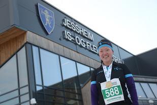Fornøyd: Solfrid Haugen kjente virkelig på godfølelsen under Jessheim Vintermaraton i går. Foto: Marianne Røhme