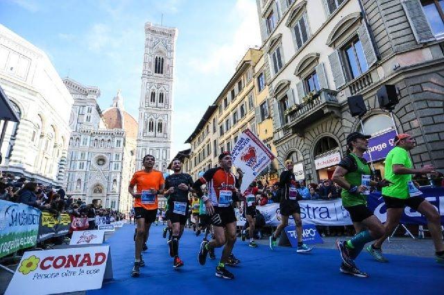 Fra årets Firenze Marathon som gikk under gode løpsforhold med delvis skyet vær og temperaturer rundt 10 grader. (Arrangørfoto)