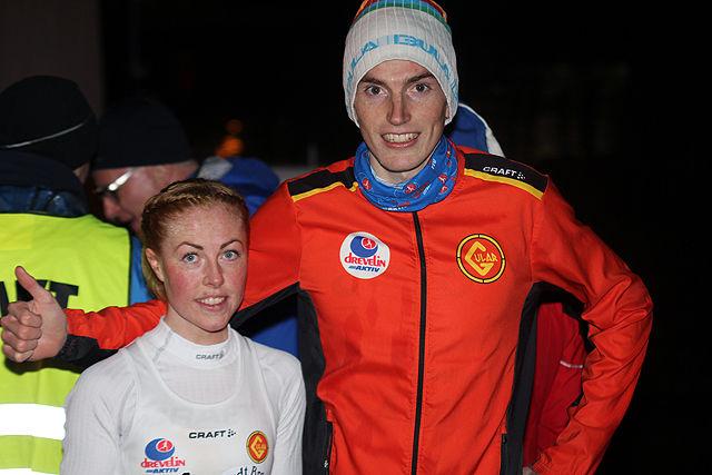 Eli Anne Dvergsdal og Marius Vedvik etter løpet