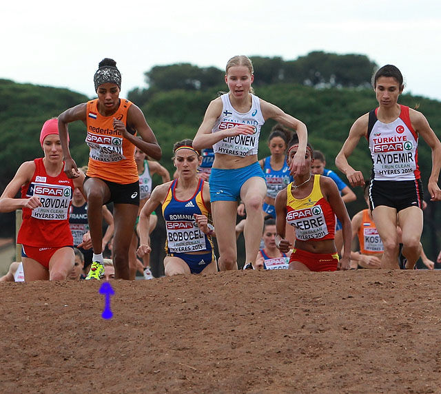 Dobbelpukkel: Vi ser vinneren av EM, Sifan Hassan, i tet foran Karoline Bjerkeli Grøvdal til venstre og finske Johanna Peiponen til høyre. Dette kunstige hinderet består av to hauger rett etter hverandre. Vi ser så vidt en norsk løper til som holdt følge med teten (litt for) lenge. Hun er midt mellom de to puklene og vi har markert med blå pil det lille vi ser av henne ved siden av skoen til Sifan Hassan. Hvem var Norges andre EM-løper? Svaret finner du i reportasjen fra EM i fjor eller om du følger TV2s dekning av helgas verdenscup i langrenn hvor hun er langrennsekspert. (Foto: Kjell Vigestad)