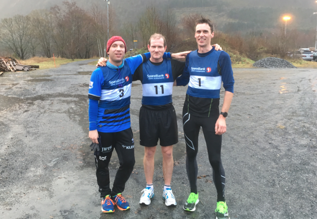 De tre første. Fra venstre Einar Orten Trovåg, Are Uran og Terje Åmelfot. Foto: Arrangør