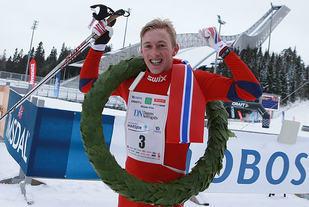 Nr. 1: Even Brøndbo Dahl ble vinner av den 41. Holmenkollmarsjen. (Foto: Kjell Vigestad)