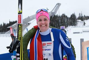 Ingeborg Dahl, Ringkollen Skiklubb er tatt ut til VM på rulleski. Her etter seieren i Holmenkollmarsjens 47 KM . Foto: Kjell VIgestad