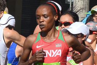 Jemima Sumgong løp inn til OL-gull under maraton i Rio sist sommer. Nå har hun avlagt positiv A-prøve på EPO. (Foto: Wikipedia)
