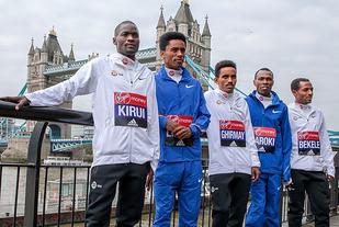Abel Kirui KEN,Feyisa Lilesa ETH, Ghirmay Ghebreslassie ERI, Abel Kirui KEN and Kenenisa Bekele ETH take part in an elite men